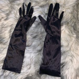 High Quality Black Satin Gloves